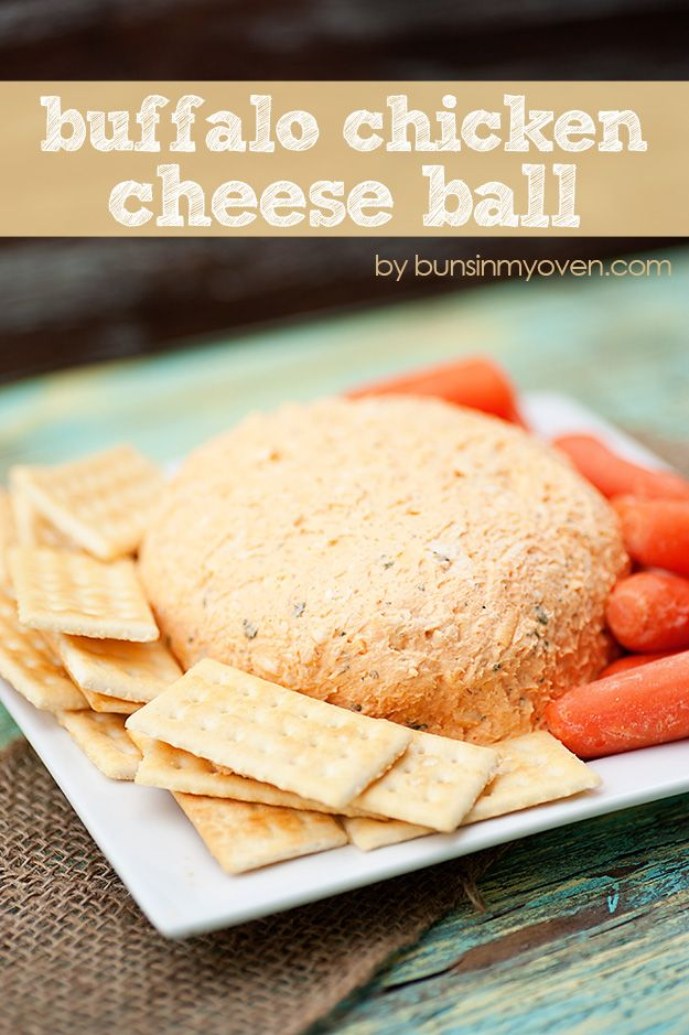 Buffalo Chicken Cheese Ball - Perfect party food! Spicy, creamy, & cheesy!