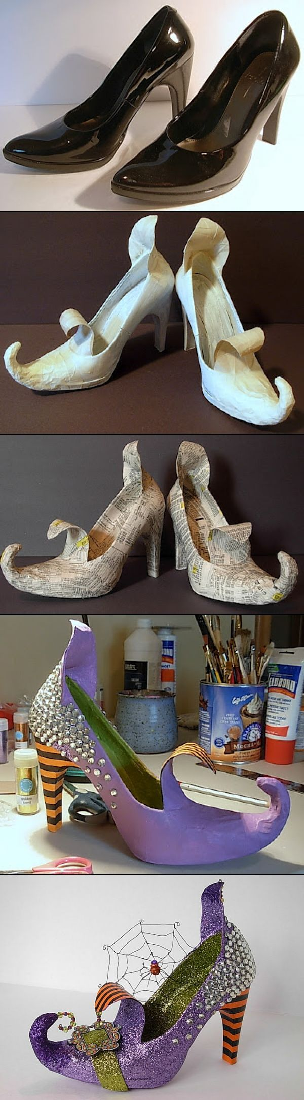 Halloween Costume Ideas: DIY witches shoes- certainly could scale down to k...