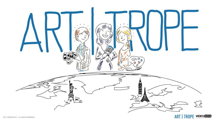 This image is extracted from Art-Trope's presentation video and represents Founder and CEO Virginie Tison flanked wih two satisfied Artists overseeing the Art capital cities.