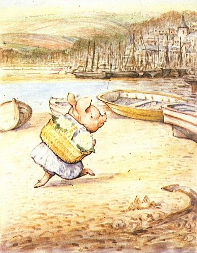 """From """"The Tale of Little Pig Robinson"""" by Beatrix Potter - 'Little Pig Robinson walking with a basket'"""