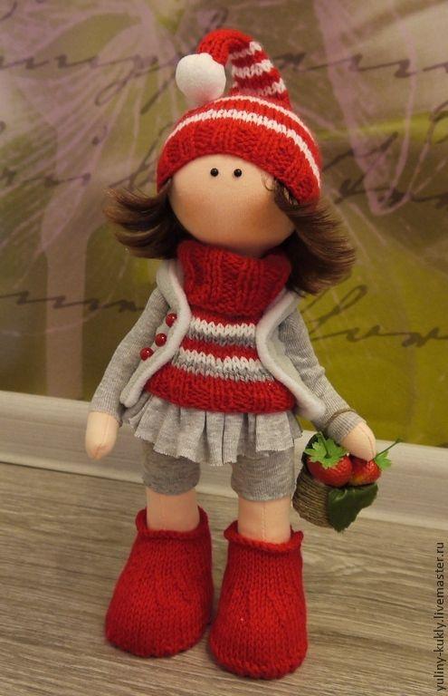 Купить Текстильная куколка ручной работы Земляничка - ярко-красный, кукла ручной работы