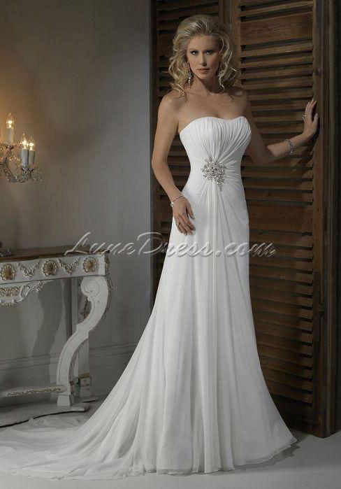Natural Waist sheath/column Chiffon Floor-Length Sleeveless Wedding Dress with Crystals - Lunedress.com