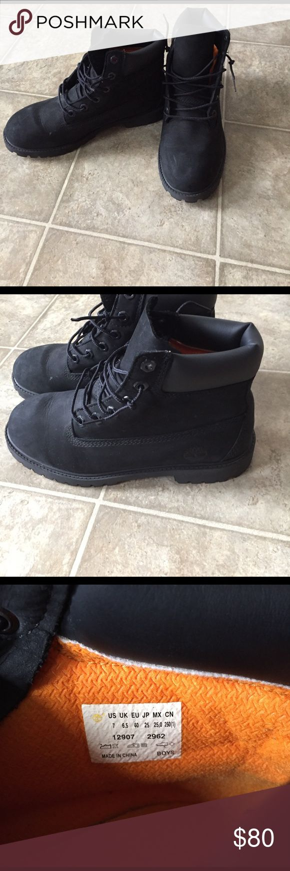 Black Timberland 6 inch Boots All black timberland boots size 7 boys (9 women's) Timberland Shoes Winter & Rain Boots
