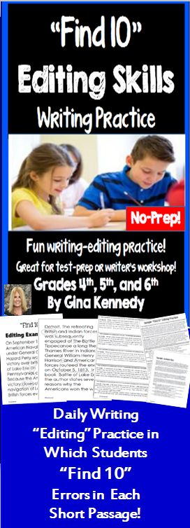 "Fun, engaging ""Find 10"" daily writing editing practice in which the students must find exactly ten grammar, capitalization, punctuation and spelling errors in each short passage or paragraph! Your students will love editing with these fun activities. I have included 75 quick editing practice warm-ups and four examples in which students are asked to ""Find 10"" editing mistakes in each short passage or paragraph.$"
