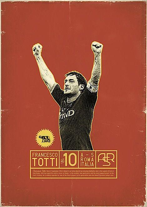 Retro Soccer Player Posters Totti