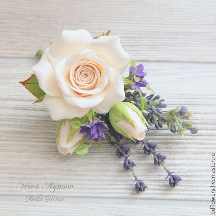Купить Бутоньерка-брошь из полимерной глины - кремовый, брошь цветок, свадебное украшение, на свадьбу