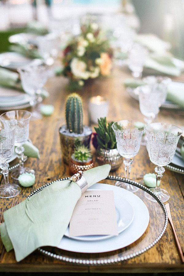 Desert and Southwestern weddings have the best details. Love these cactus centerpieces and delicate crystal wine and water glasses.
