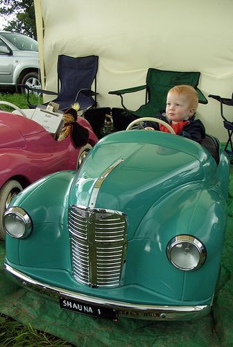 Toby in the pedal car