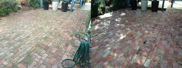 Filthy brick paving before pressure cleaning and another perfect result, another happy customer :)