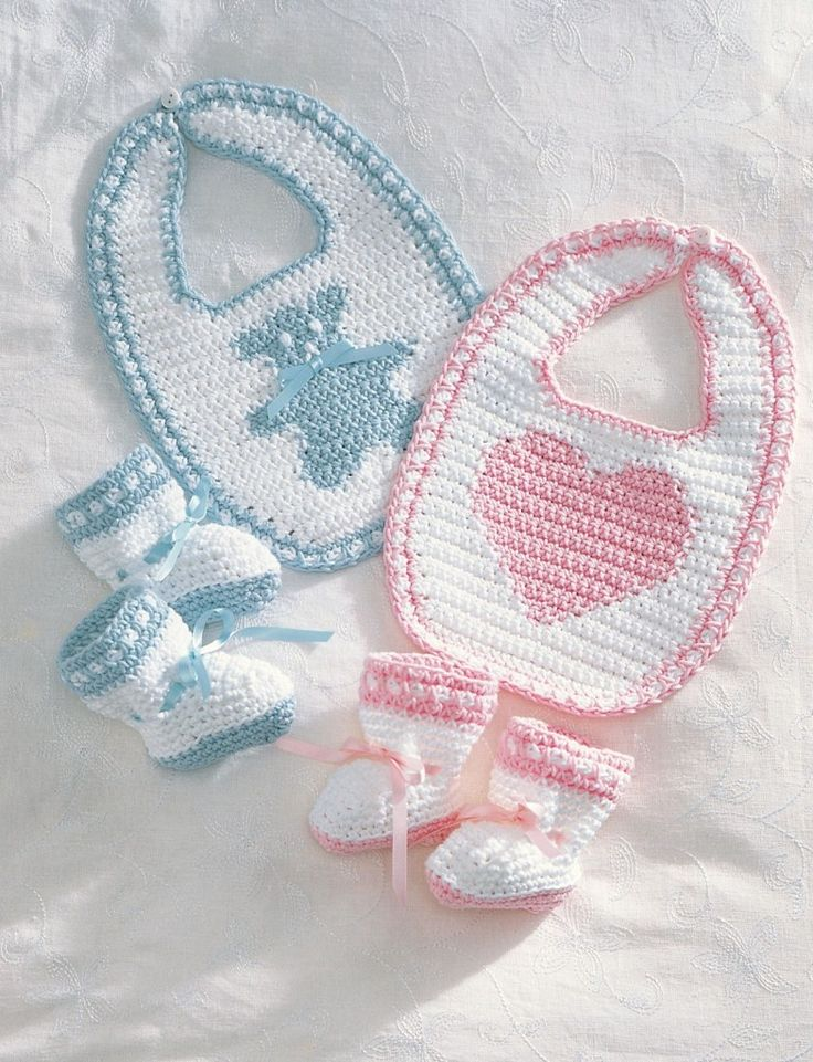 Free baby bib and baby bootie crochet pattern from Bernat - download at LoveCrochet