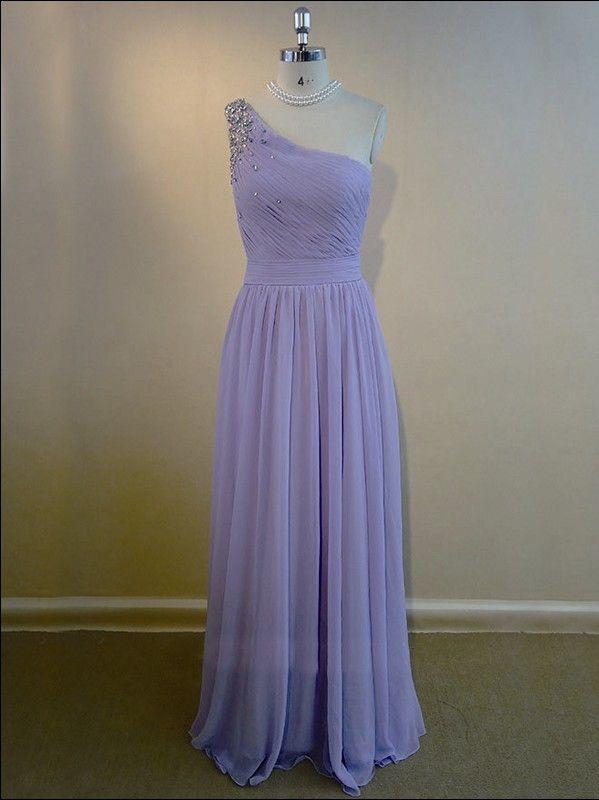 one shoulder long purple rhinestones elegant bridesmaid dress | Cheap full length Sale