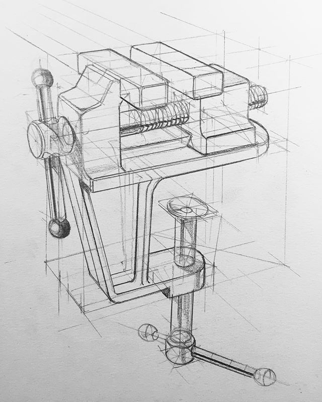 Vise clamp sketch for today. Video tutorial will be up tomorrow on YouTube. #idsketching #design #sketching #industrialdesign #productdesign #sketch #sketchbook #designsketching #viscom #illustration #tutorial