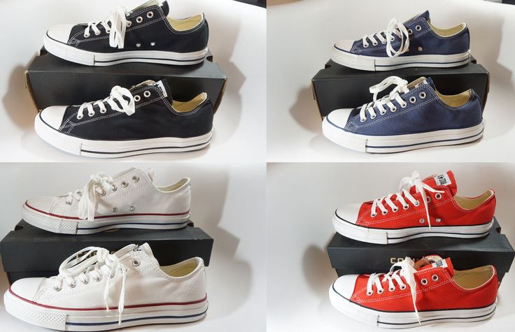 Converse ALL STAR Chuck Taylor OX Black White Red Navy CANVAS Men Women Unisex #Converse #AthleticSneakers