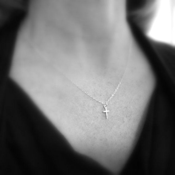 silver cross necklace. TINY. sterling silver by limegreenmodern
