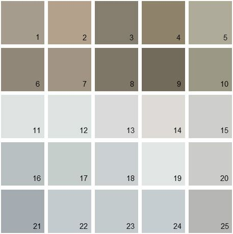 Benjamin Moore Gray House Paint Colors - Palette 05 - #9 is  Dash of Pepper - Leather couch color