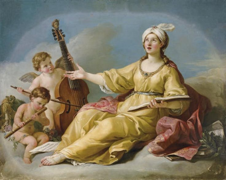 The Muse of Music (1758). Joseph-Marie Vien (French, 1716-1809). Oil on canvas.The neoclassical tendencies Vien developed ran so counter to the reigning taste of the age that, when he returned to Paris, it was only through the intervention of Boucher that Vien's 'Daedalus and Icarus' was accepted for his admission to the Académie.
