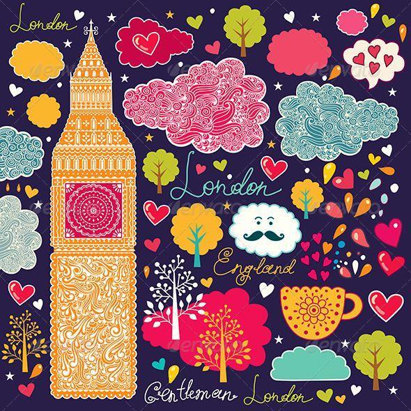 Vector illustration with London symbols