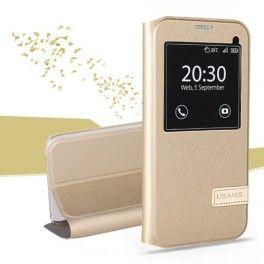 Samsung Galaxy S7 edge samppanjan kultainen ikkunakuori.