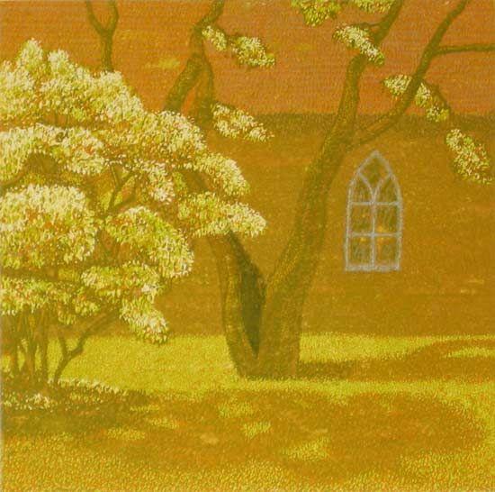 Milos Slama - Paradise Garden - (11-color linocut)