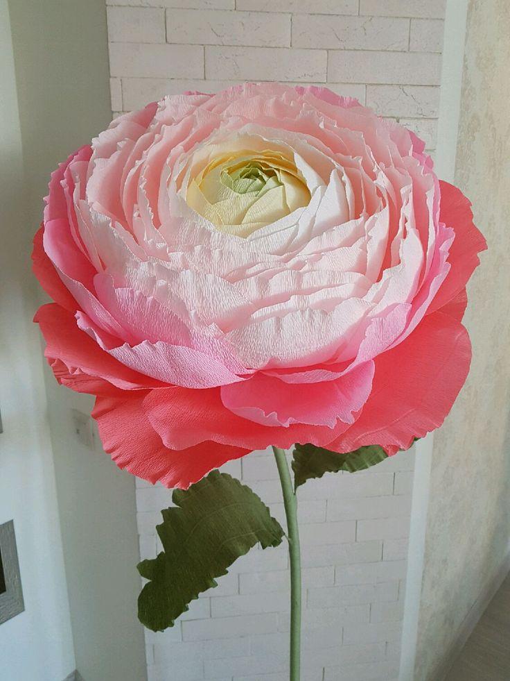 Купить Ранункулюс из гофрированной бумаги - большой цветок, большой бумажный ранункулюс, ранункулюсы, оформление интерьера, украшение свадьбы