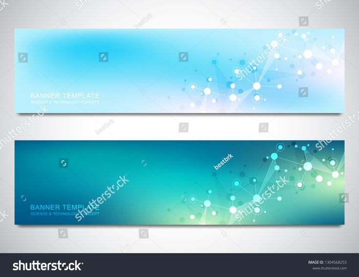 Banners design template with molecules background and neural network. Science and technology background of genetic engineering or laboratory research …