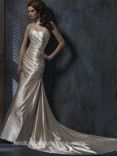 Simple Champagne One Shoulder Hall Wedding Dress (MW3B34) - LuckyDresshop.com
