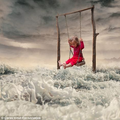 Ordinary to extraordinary: This image of a girl on a swing has been blended with other textures