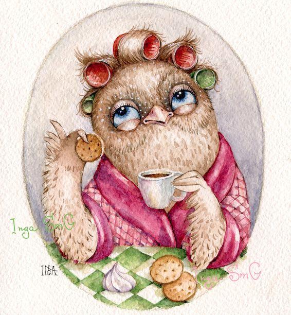 Сова утренняя кофейная