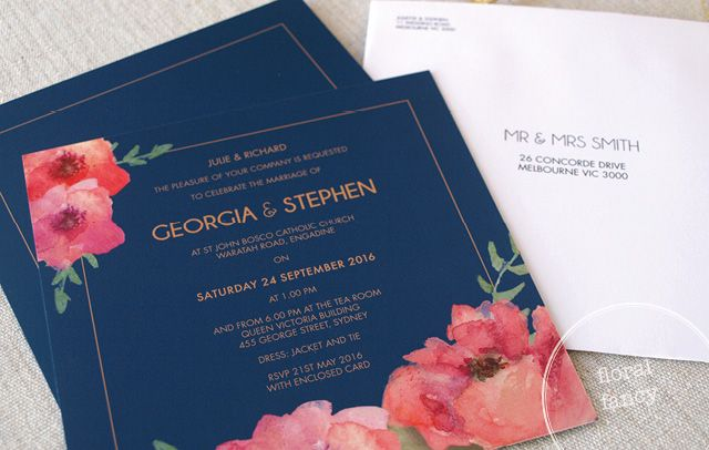 Floral Fancy Wedding Invitations from Alannah Rose Stationery #wedding #invitations #weddinginvitations #floral #navy