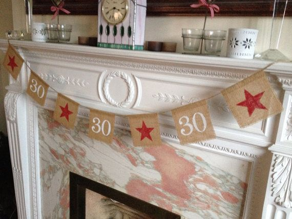 Burlap 30TH birthday or anniversary banner by FreshwellsDesigns