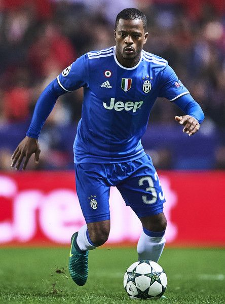 Patrice Evra of Juventus in action during the UEFA Champions League match between Sevilla FC and Juventus at Estadio Ramon Sanchez Pizjuan on November 22, 2016 in Seville, Spain.