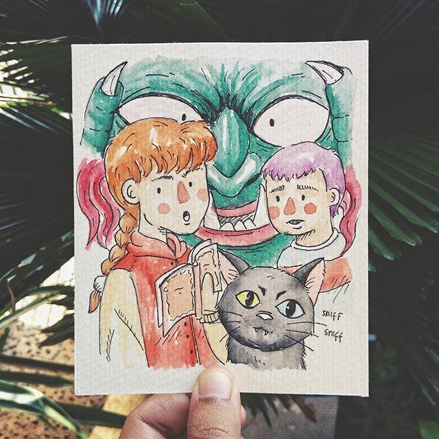 Inktober #02 Ghost at school  Satsuki; her brother Keiichirou; her pet (the demon) Amanojaku; and Ghost  Best horor anime when I was a kid.. 👧👧👧 . . . . . . . . . . . . .  #illustration #inktober #inktober2017 #aquarelle #watercolor #90s #girl #character #horor #ghostatschool #amanojaku #kids #adventures #monster #ghost #siblings #brush