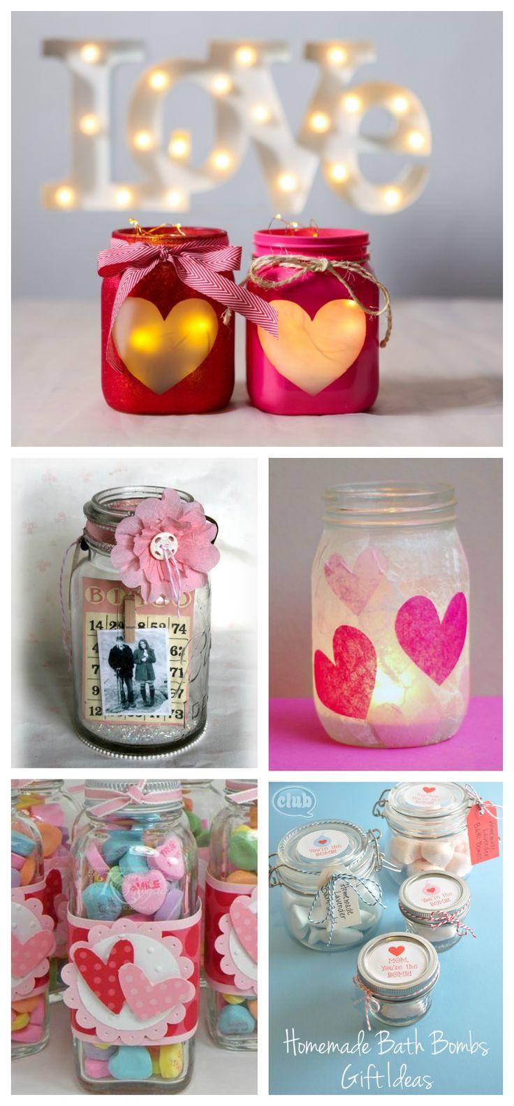 DIY Valentines crafts using mason jars