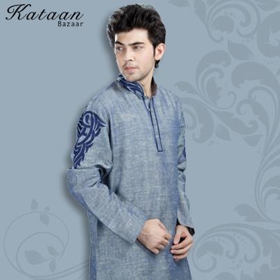 Light Indigo Cotton Khadi Long Sleeved Kurta Chudidar