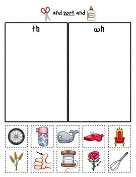 Sample sorting page from:  Digraph Sorts {Phonemic Awareness Sorting Series, Set #7}  $