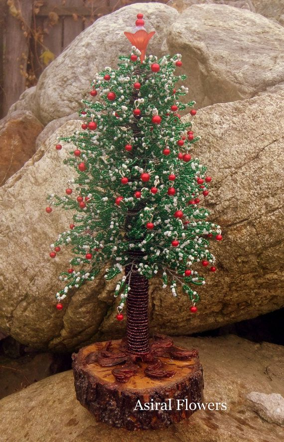 Christmas tree made of beads by AsiralFlowersBeads on Etsy