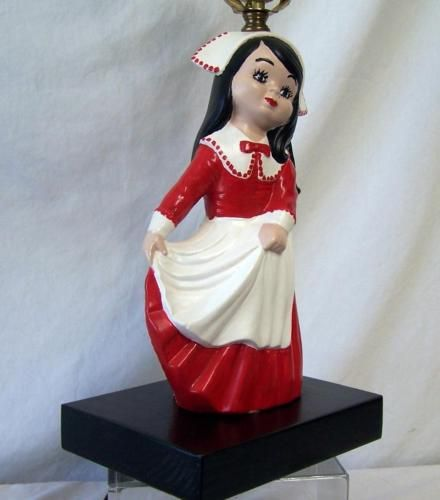 Vintage Ceramic Little Dutch Girl In Red Dress Novelty Lamp No Shade    What's it worth