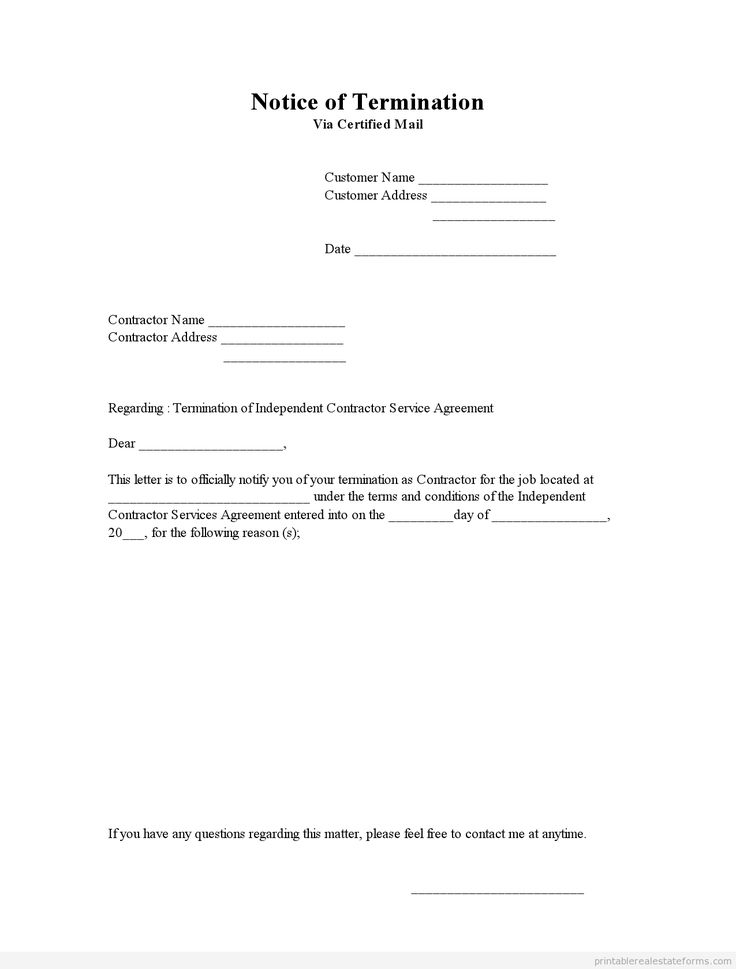 Printable Sample Notice Of Termination Form | Legal Document