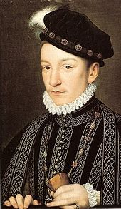 """Charles IX of France, son of Henry II and Marie de Medici,after François Clouet, c. 1565. The Venetian ambassador Giovanni Michiel described Charles as """"an admirable child, with fine eyes, gracious movements, though he is not robust. He favours physical exercise that is too violent for his health, for he suffers from shortness of breath"""""""
