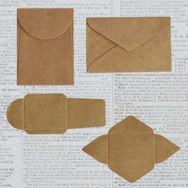 10 Tiny Maya Road DIY Kraft Note Envelopes; 2 Styles, for Scrapbooks, Cards, ETC