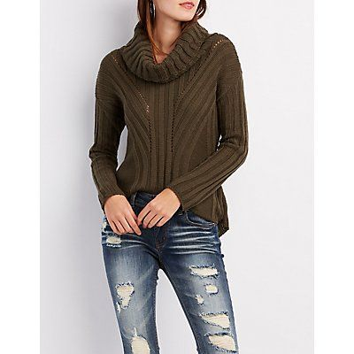 Pointelle Cowl Neck Sweater