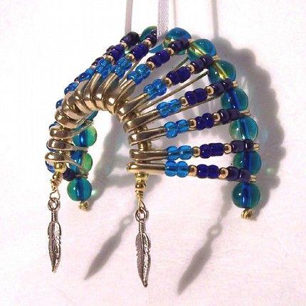 07043 Beaded Art Native American Headdress Christmas Ornament ...