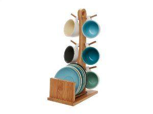Present Time - Juego de tazas de café con soporte de bambú, color rosa: Amazon.es: Hogar