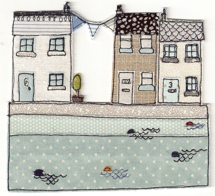 Seaside Bunting by Textile Artist Cat Rowe www.textileillustration.co.uk                                                                                                                                                      More