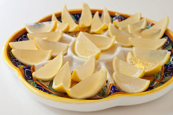 Vegan Lemon Drop Jelly Shots //  fresh lemon juice, agave syrup, vodka, agar powder