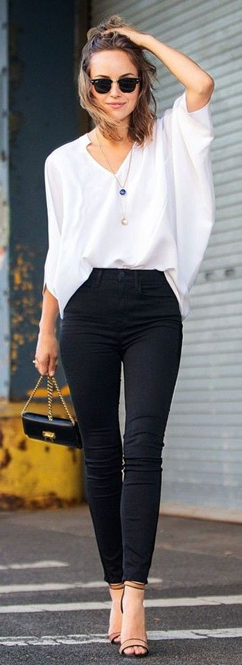 White Batwing V neck Loose Blouse by The Glamourai