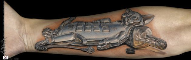 AMAZING 3D CAT Tattoo - Best Tattoos Ever - Tattoo by Anil Gupta - 07