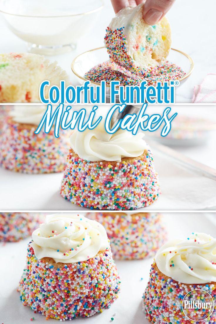Colorful funfetti mini cakes recipe mini cakes mini