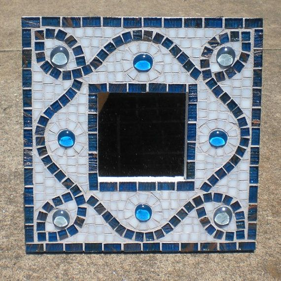 Blue Curves Stained Glass Mosaic Mirror by HouseOfTheRisingCat, $150.00