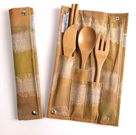 Re-usable bamboo utensil set. #green #gift